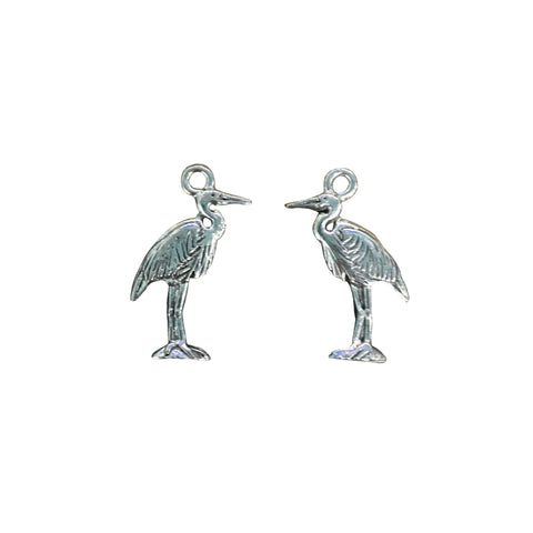 Heron Bird Charms - Qty 5 - Lead Free Pewter Silver - American Made
