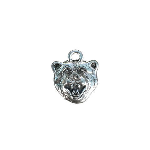 Bear Face Charms - Qty of 5 Charms - Lead Free Pewter Silver - American Made