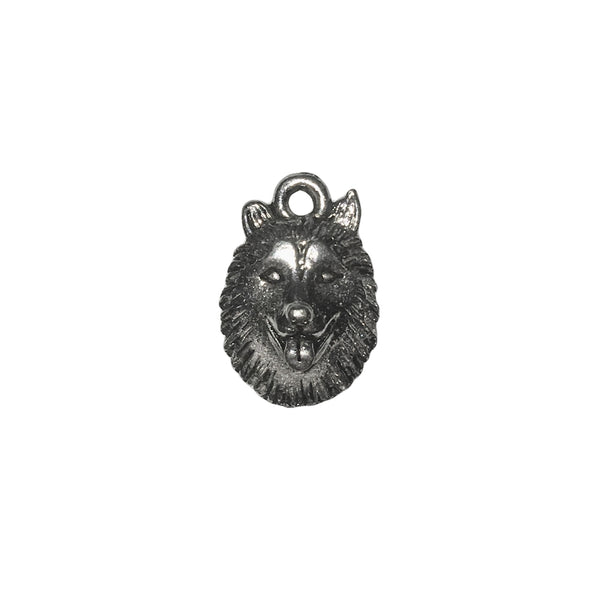 Wolf Head Charms - Qty 5 - Lead Free Pewter Silver - American Made