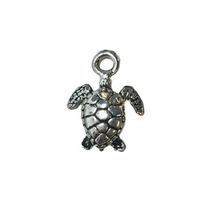 Small Sea Turtle Charms - Qty 5 - Lead Free Pewter Silver - American Made