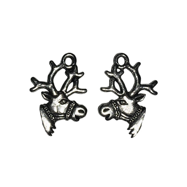 Reindeer Charms - Qty 5 - Lead Free Pewter Silver - American Made