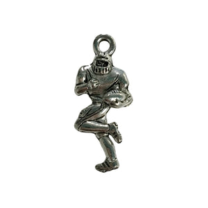 Football Player Charms - Qty 5 - Lead Free Pewter Silver - American Made