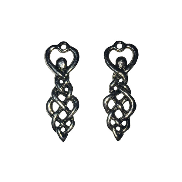 Twisting Goddess Celtic Knot Charms - Qty of 5 Charms - Lead Free Pewter Silver - American Made