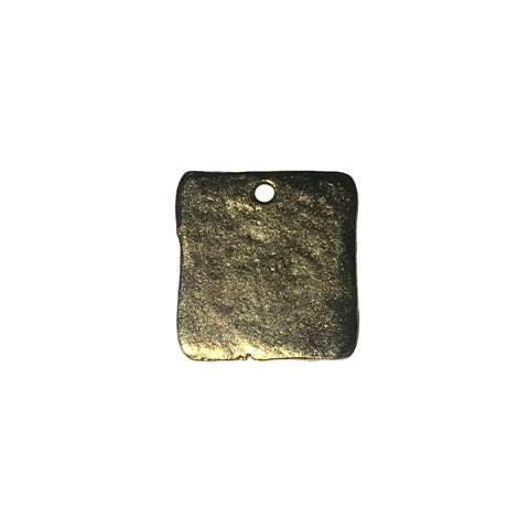 Hammered Square Tag Charms - Qty 5 - Lead Free 24kt Gold Plated Pewter - American Made
