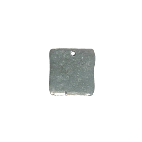 Hammered Square Tag Charms - Qty 5 - Lead Free Pewter Silver - American Made