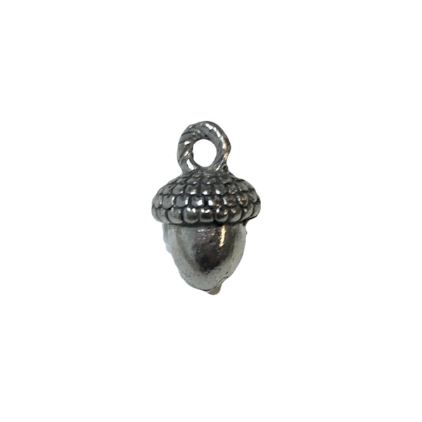 Acorn Charms - Qty 5 - Lead Free Pewter Silver - American Made