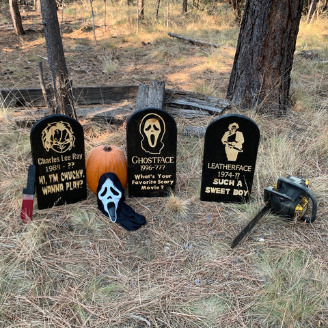 Choice of Horror Movie Tombstones - Yard Ornament Grave Head Stone Tomb Halloween Decoration