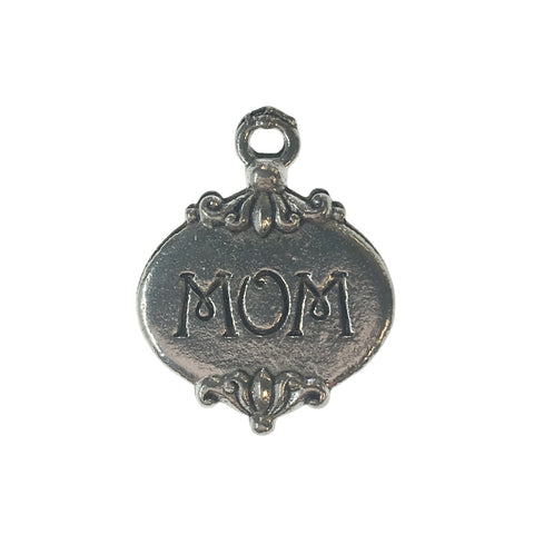 Mom Heart Charms - Qty 5 - Lead Free Pewter Silver