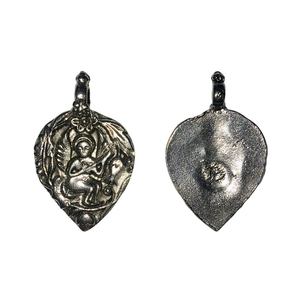 Tibetan Musician Leaf Charms - Qty 5 - Lead Free Pewter Silver - American Made