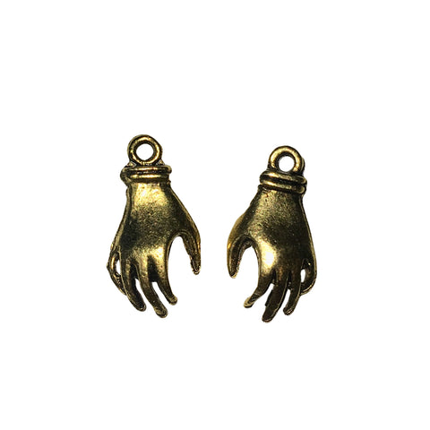 Small Left & Right Hand Charms - Qty 3 Pairs - 24kt Gold Plated Lead Free Pewter