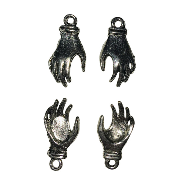 Small Left & Right Hand Charms - Qty 3 Pairs - Lead Free Pewter Silver - American Made