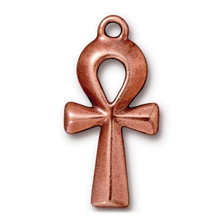 Large Ankh Pendant Charm - Qty 3 - TierraCast Copper Plated LEAD FREE Pewter DC