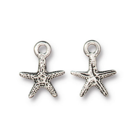 Tiny Seastar Charm - Qty 5 Charms - TierraCast Silver Plated LEAD FREE Pewter