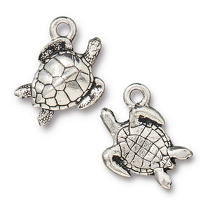 Sea Turtle Charms - Qty 5 Charms - TierraCast Lead Free Silver plated Pewter