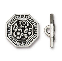 Blossom Buttons - Qty 3 Buttons - TierraCast Silver Plated LEAD FREE Pewter