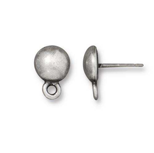 Dome Earring Post with  Loop - Qty 1 Pair - TierraCast Antiqued Pewter Plated Lead Free Pewter