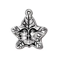 TierraCast - Tree Spirit or Green Man charm - Lead Free Silver Plated Pewter - I ship internationally - 2121-12