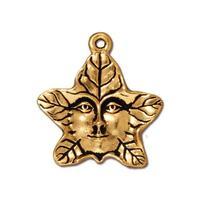 Tree Spirit Green Man Charm - Qty 5 Charms - TierraCast Lead Free 22kt Gold Plated Pewter