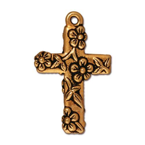 Floral Cross Pendant Charms - Qty 5 Charms - TierraCast 22kt Gold Plated LEAD FREE Pewter