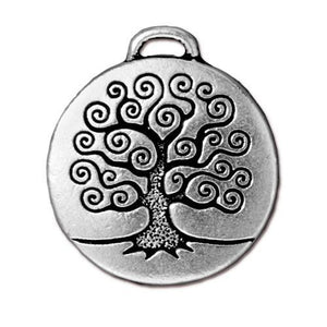 Tree of Life Pendant - Qty 2 Charms -TierraCast Silver Plated Lead Free Pewter