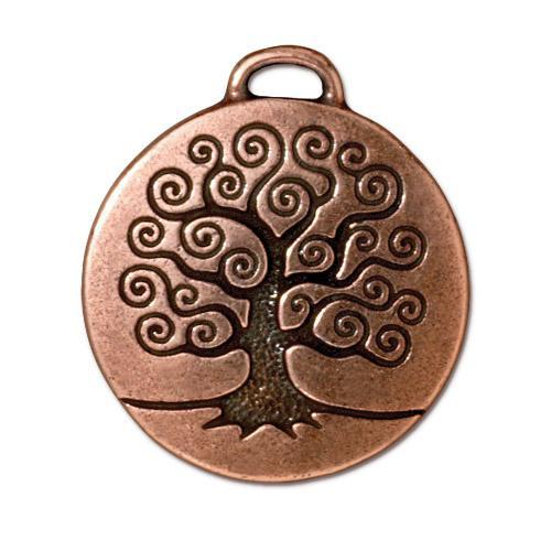 Tree of Life Pendant - Qty 2 Charms -TierraCast Copper Plated Lead Free Pewter