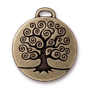 Tree of Life Pendant - Qty 2 Charms -TierraCast Brass Ox Plated Lead Free Pewter