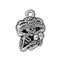 Catrina Charms - Qty 5 Charms - TierraCast Silver Plated Lead Free Pewter