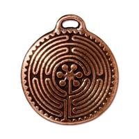 Labyrinth Maze Large Pendant Charm - Qty 2 Charms - TierraCast Copper Plated Lead Free Pewter
