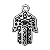 Hamsa Hand Large Pendant Charms - Qty 2 Charms - TierraCast Silver Plated Lead Free Pewter