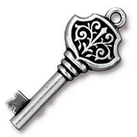 Victorian Key Charms - Qty 5 Charms - TierraCast Fine Silver Plated Lead Free Pewter