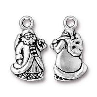 Santa Claus St Nick Christmas Charms - Qty 5 Charms - TierraCast Silver Plated Lead Free Pewter