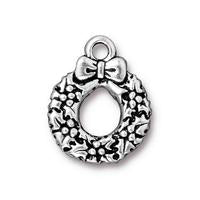 Christmas Wreath Charm - Qty 5 Charms - TierraCast Silver Plated Lead Free Pewter