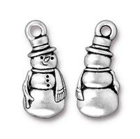 Frosty the Snowman Charm - Qty 5 Charms - TierraCast Silver Plated Lead Free Pewter