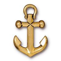Boat Anchor Large Pendant Charms - Qty 5 Charms - TierraCast 22kt Gold Plated LEAD FREE pewter