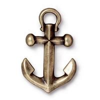 Boat Anchor Large Pendant Charms - Qty 5 Charms - TierraCast Brass Ox Plated LEAD FREE pewter