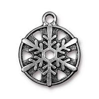 Snowflake Round Charm - Qty 5 Charms - TierraCast Silver Plated Lead Free Pewter