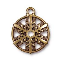 Snowflake Round Charm - Qty 5 Charms - TierraCast 22kt Gold Plated Lead Free Pewter