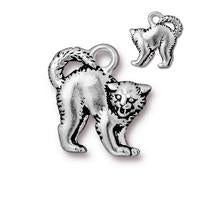Scary Cat Charm - Qty 5 Charms - TierraCast Silver Plated Lead Free Pewter