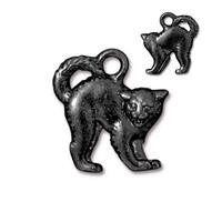 Scary Cat Charm - Qty 5 Charms - TierraCast Black Ox Plated Lead Free Pewter