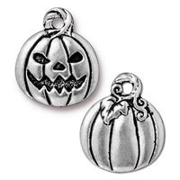 Jack O'Lantern Pumpkin Charm - Qty 5 Charms - TierraCast Silver Plated Lead Free Pewter
