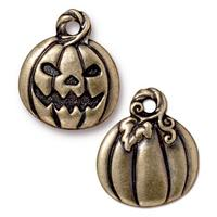 Jack O'Lantern Pumpkin Charm - Qty 5 Charms - TierraCast Brass Ox Plated Lead Free Pewter