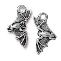 Flying Bat Charm - Qty 5 Charms - TierraCast Silver Plated Lead Free Pewter