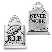 Halloween Tombstone Charm - Qty 5 Charms - TierraCast Silver Plated Lead Free Pewter