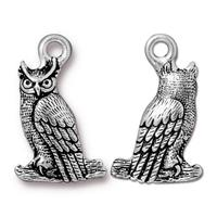 Horned Owl Charm - Qty 5 Charms - TierraCast Silver Plated Lead Free Pewter