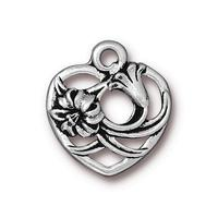 Floral Heart Pendant Charm - Qty 5 Charms - TierraCast Silver Plated Lead Free Pewter