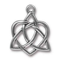 Open Celtic Heart Pendant Charm - Qty 5 Charms - TierraCast Silver Plated Lead Free Pewter