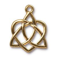 Open Celtic Heart Pendant Charm - Qty 5 Charms - TierraCast 22kt Gold Plated Lead Free Pewter