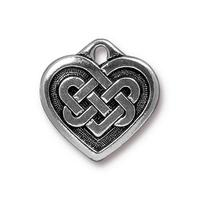 Solid Celtic Heart Pendant Charm - Qty 5 Charms - TierraCast Silver Plated Lead Free Pewter