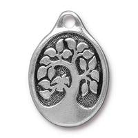 Bird in a Tree Oval Large Pendant Charms - Qty 3 Charms - TierraCast Silver Plated LEAD FREE Pewter