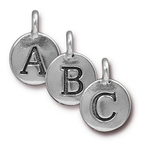 A - Z  Alphabet Letter Round Charm - Qty 1 - TierraCast Silver Plated LEAD FREE Pewter